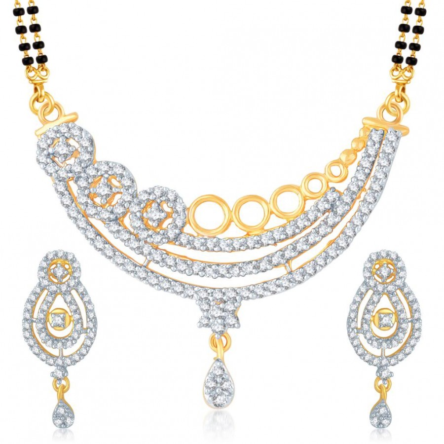 Buy Pissara Beguilling Gold and Rhodium Plated Cubic Zirconia Stone Studded Mangalsutra Set Online