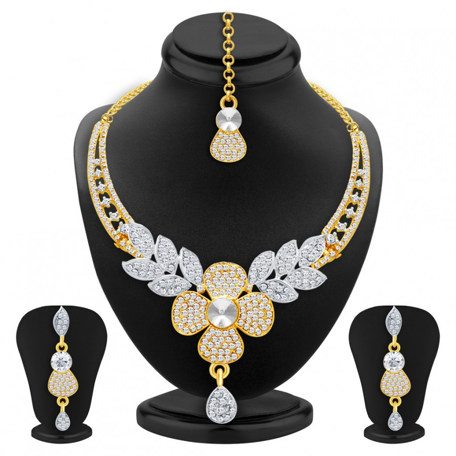 Buy Sukkhi Traditionally Gold & Rhodium Plated AD Necklace Set For Women Online