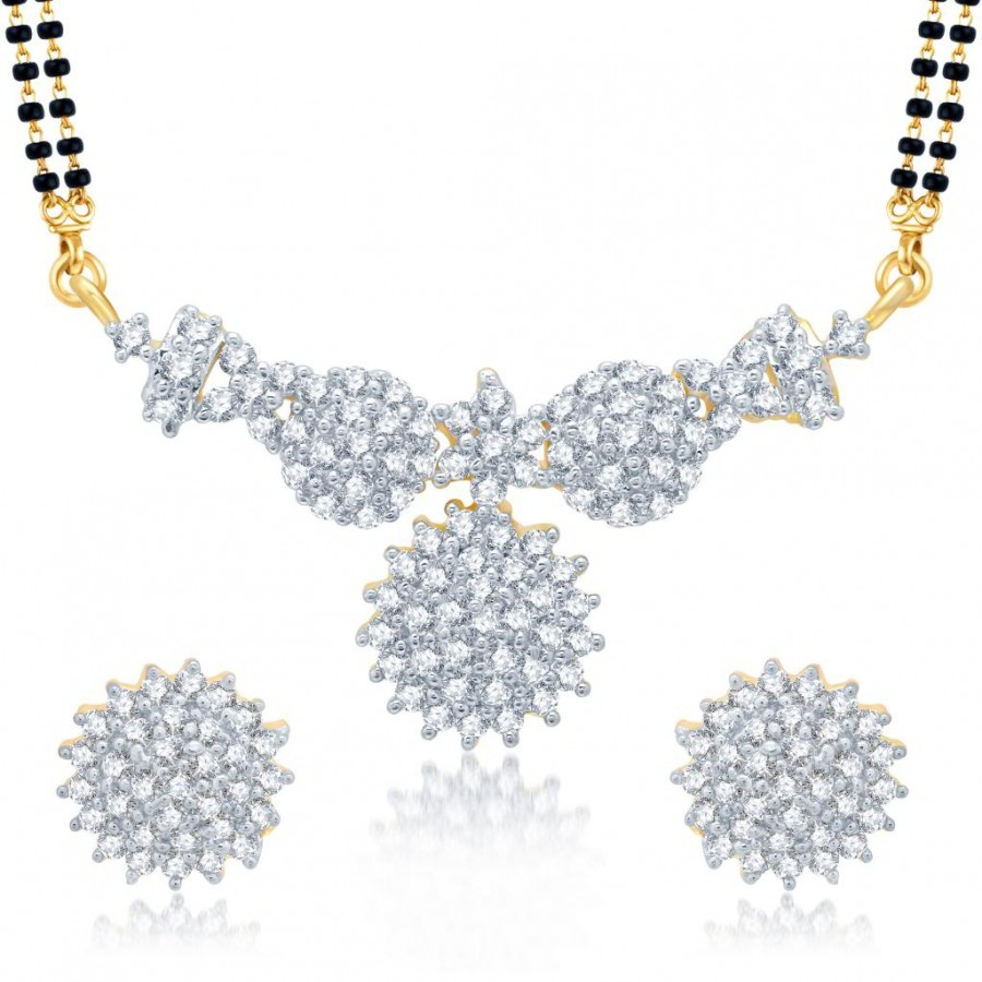 Buy Pissara Marvellous Gold and Rhodium Plated Cubic Zirconia Stone Studded Mangalsutra Set Online