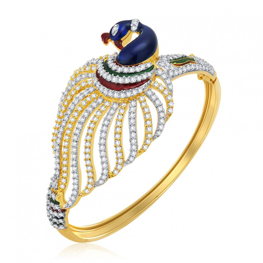 Buy Pissara Fascinating Peacock Gold And Rhodium Plated CZ Kada For Women Online