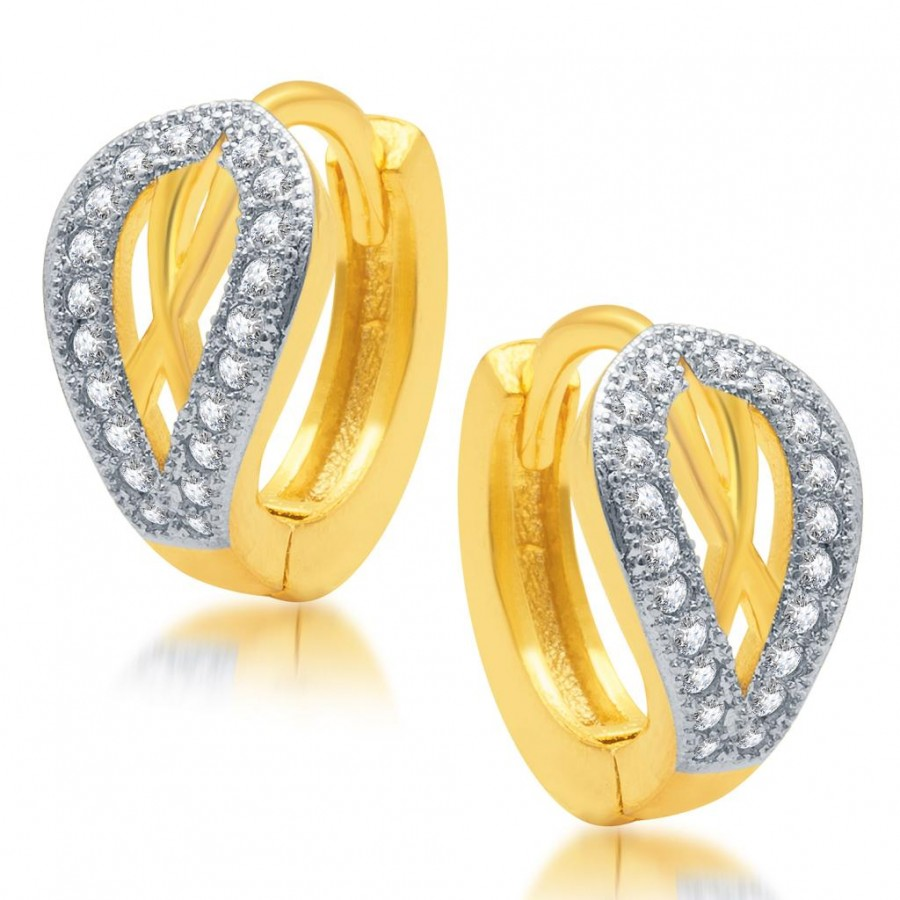 Buy Pissara Magnificent Gold and Rhodium Plated Micro Pave CZ Earrings Online