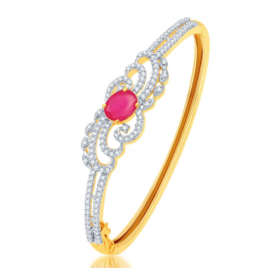 Buy Pissara Glimmery Gold and Rhodium Plated CZ Kada Online