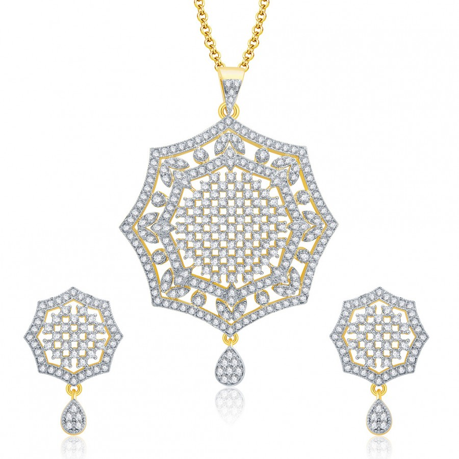 Buy Pissara Soothing Gold And Rhodium Plated CZ Pendant Set For Women Online