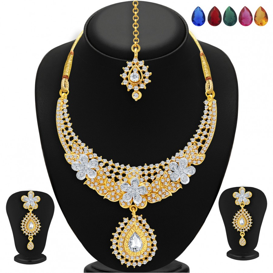 Buy Sukkhi Stunning Gold and Rhodium Plated AD Necklace Set with Set of 5 Changeable Stone For Women Online