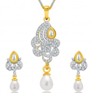 Buy Sukkhi Cluster Gold and Rhodium Plated AD Kundan Pendant Set for Women Online