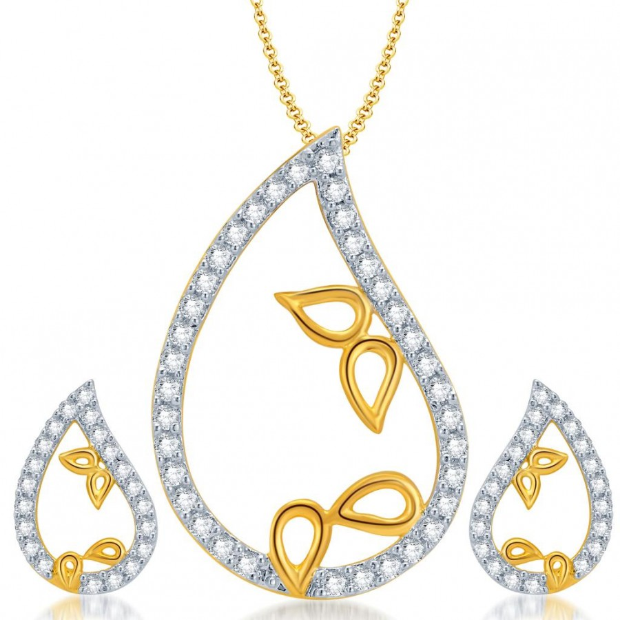 Buy Pissara Glimmery Gold and Rhodium Plated CZ Pendant Set for Women Online