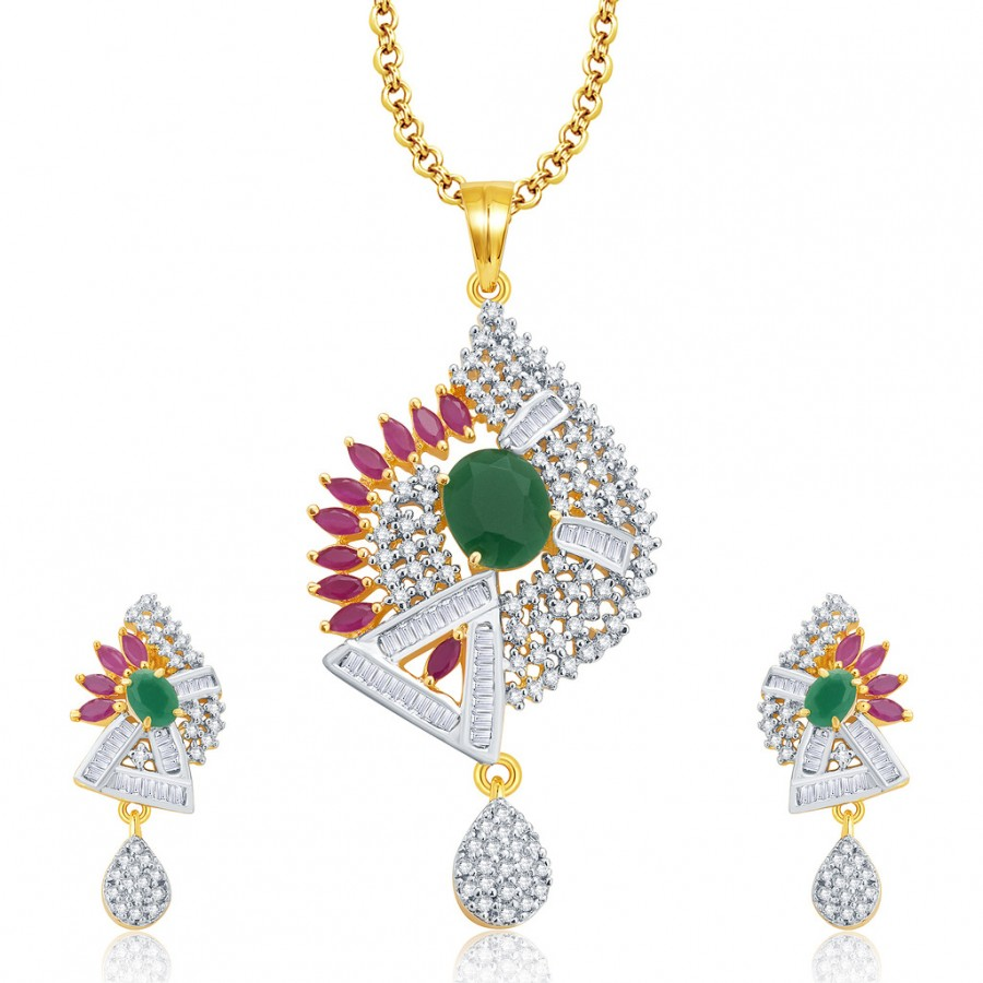 Buy Pissara Exceptional Gold And Rhodium Plated Ruby CZ Pendant Set For Women Online