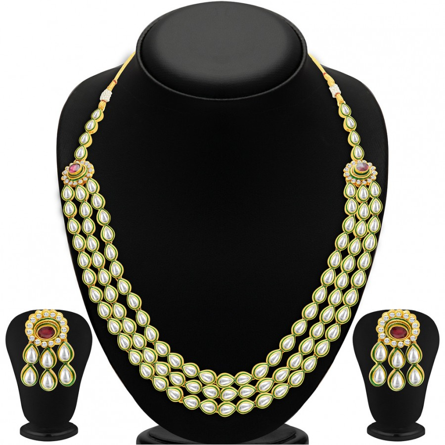 Buy Sukkhi Beguiling Three Strings Gold Plated Kundan Necklace Set Online