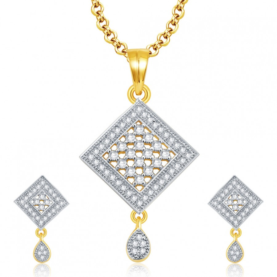 Buy Pissara Vibrant Gold And Rhodium Plated CZ Pendant Set For Women Online