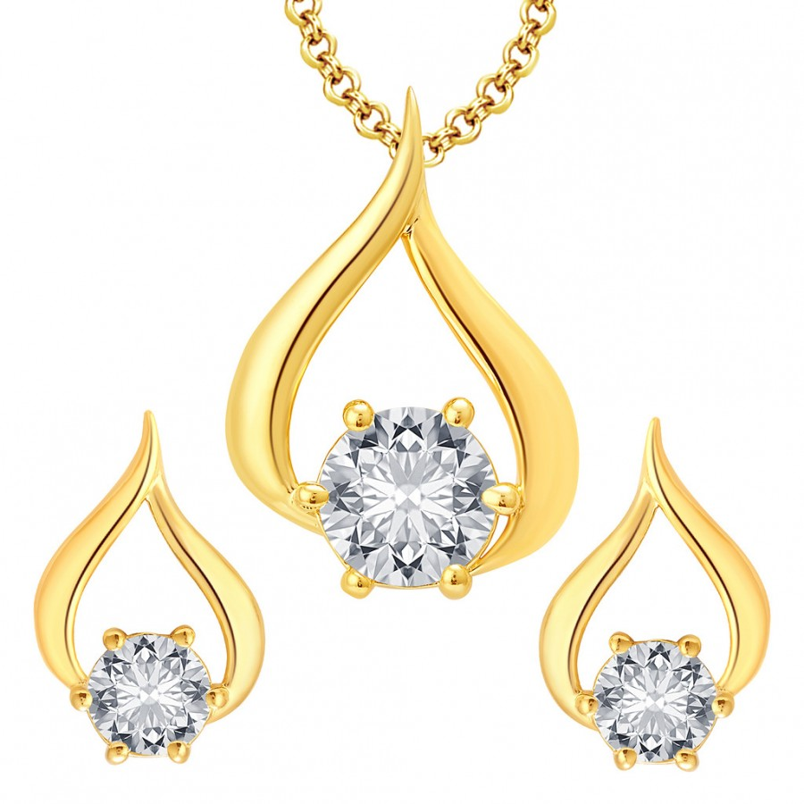 Buy Pissara Adoring Gold Plated CZ Pendant Set For Women Online