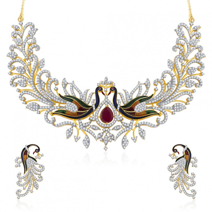 Buy Pissara Dazzling Peacock Gold And Rhodium Plated CZ Neklace Set For Women Online