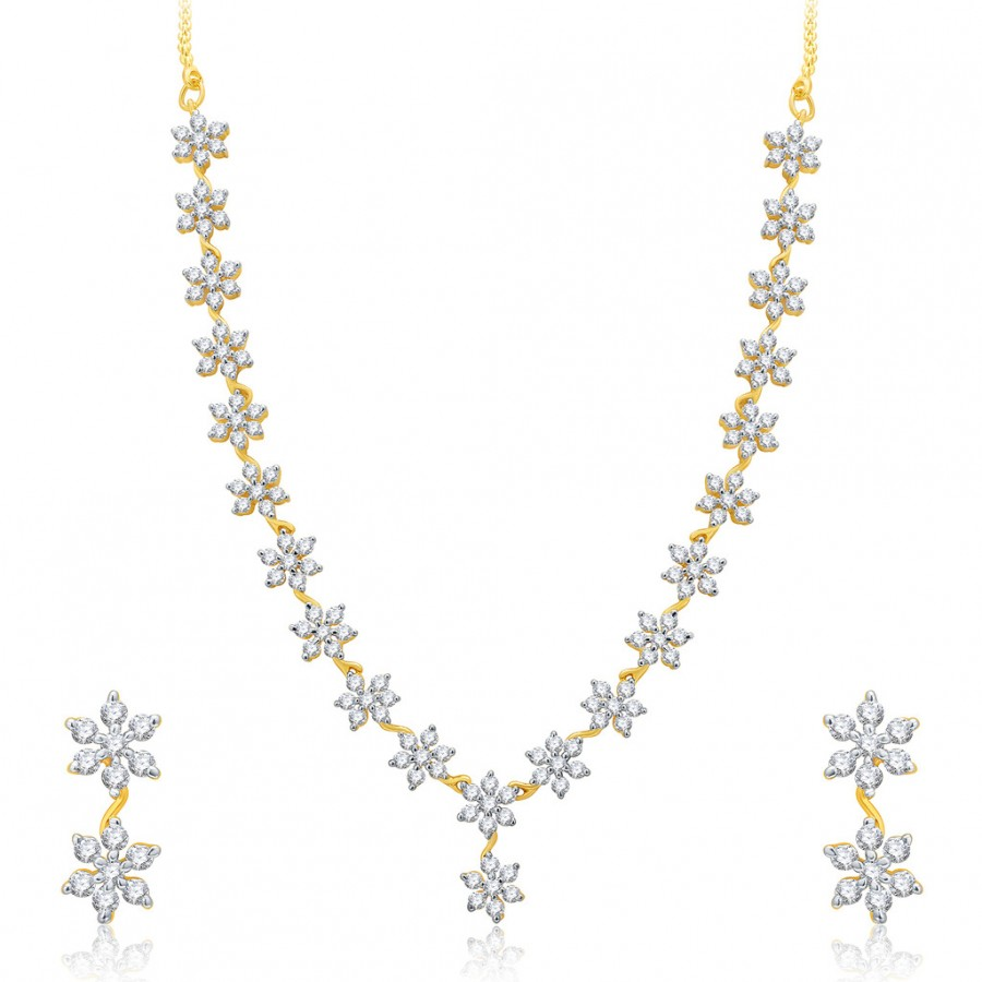Buy Pissara Stupendous Gold And Rhodium Plated CZ Neklace Set For Women Online