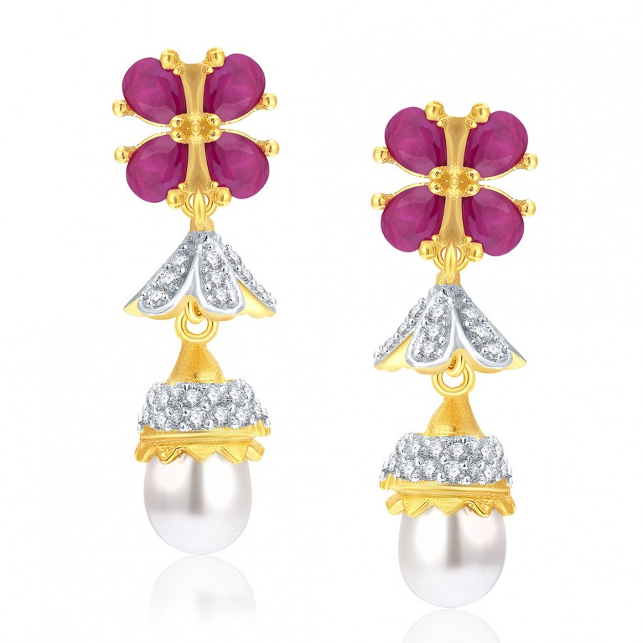 Buy Pissara Enchanting Gold And Rhodium Plated Ruby CZ Jhumki For Women Online