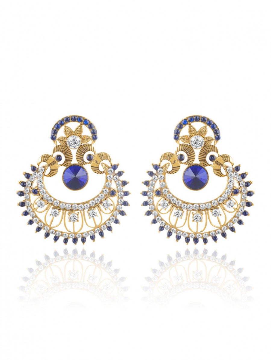 Buy Sukkhi Pleasing Gold Plated AD Chandbali Earring For Women Online