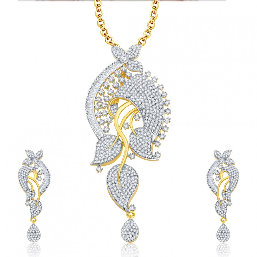 Buy Pissara Impressive Gold And Rhodium Plated CZ Pendant Set For Women Online