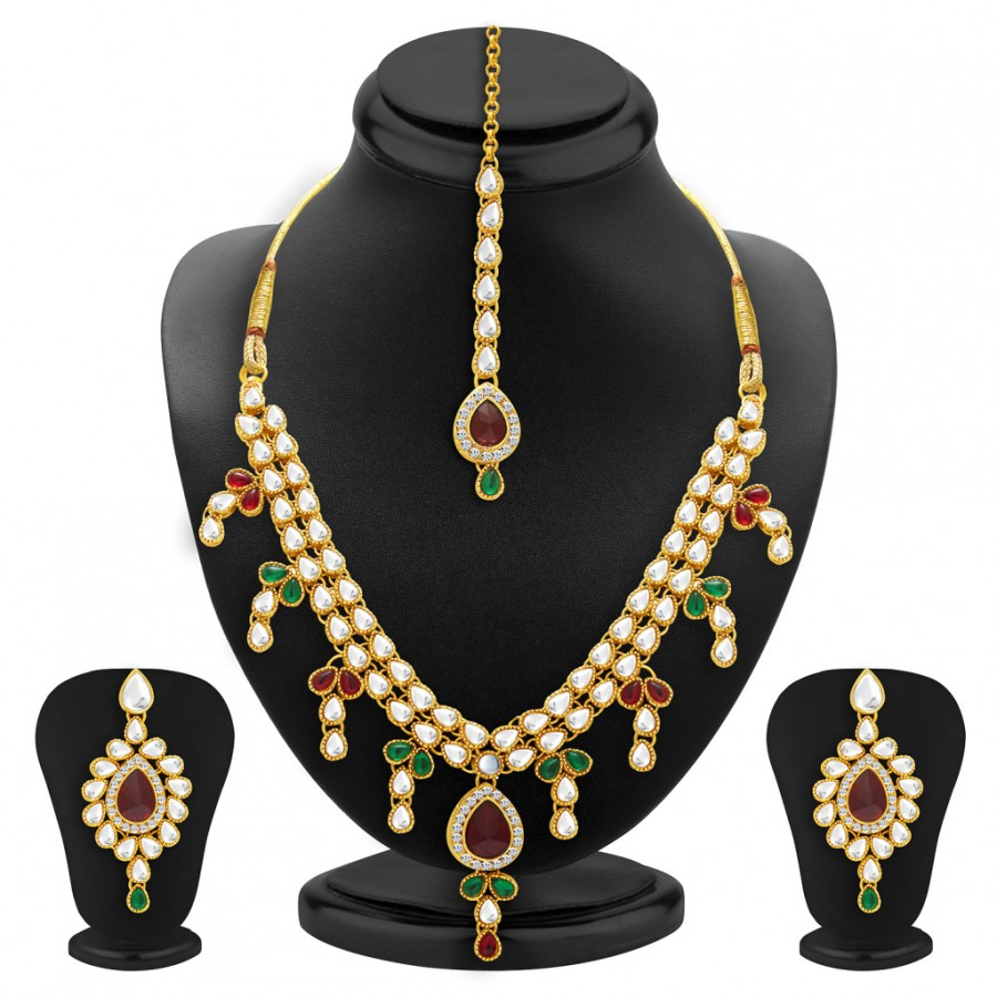 Buy Sukkhi Angelic Gold Plated Kundan Necklace Set For Women Online