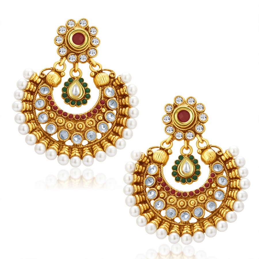 Buy Sukkhi Glistening Gold Plated Chandbali Earring For Women Online