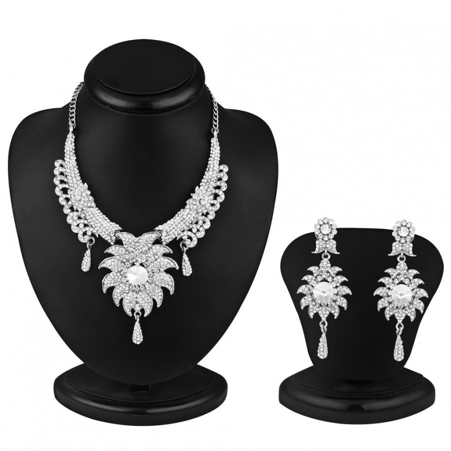 Buy Sukkhi Ritzzy Rhodium plated AD Stone Necklace Set Online