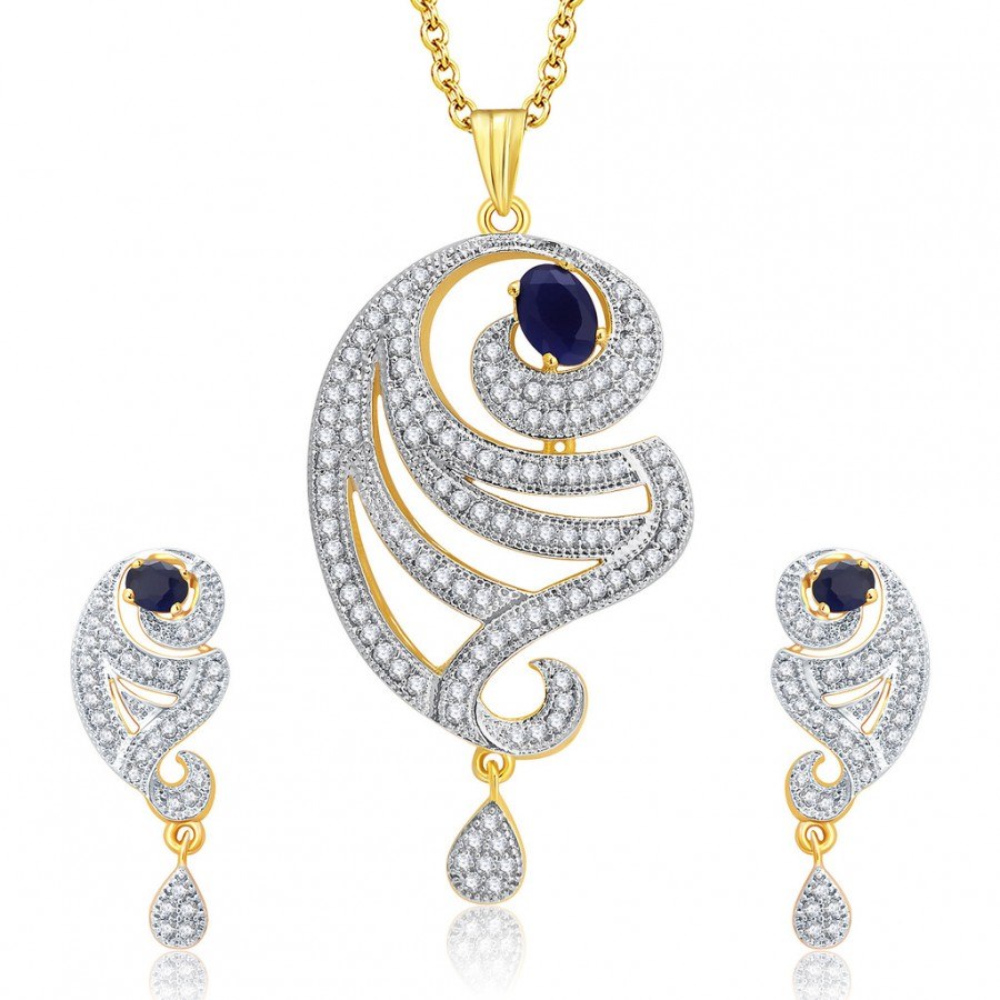 Buy Pissara Spellbinding Gold And Rhodium Plated CZ Pendant Set For Women Online