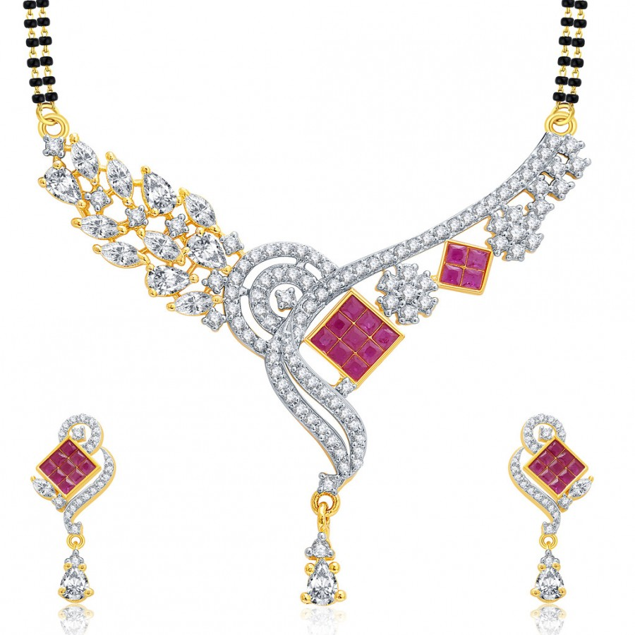 Buy Pissara Amazing Gold And Rhodium Plated Ruby CZ Mangalasutra Set For Women Online