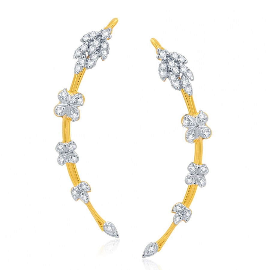 Buy Pissara Youthful Gold and Rhodium Plated CZ Earcuff For Women Online
