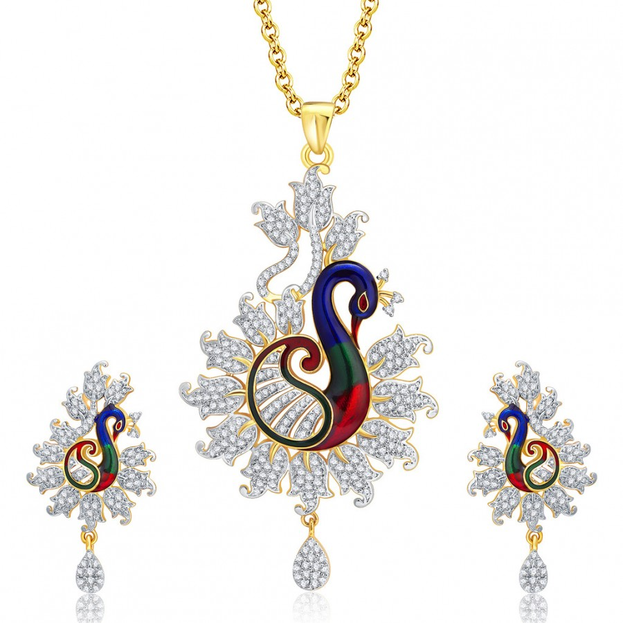 Buy Pissara Enticing Peacock Gold And Rhodium Plated CZ Pendant Set For Women Online