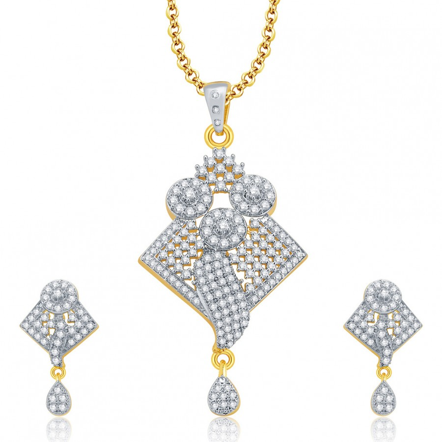 Buy Pissara Bewitching Gold And Rhodium Plated CZ Pendant Set For Women Online