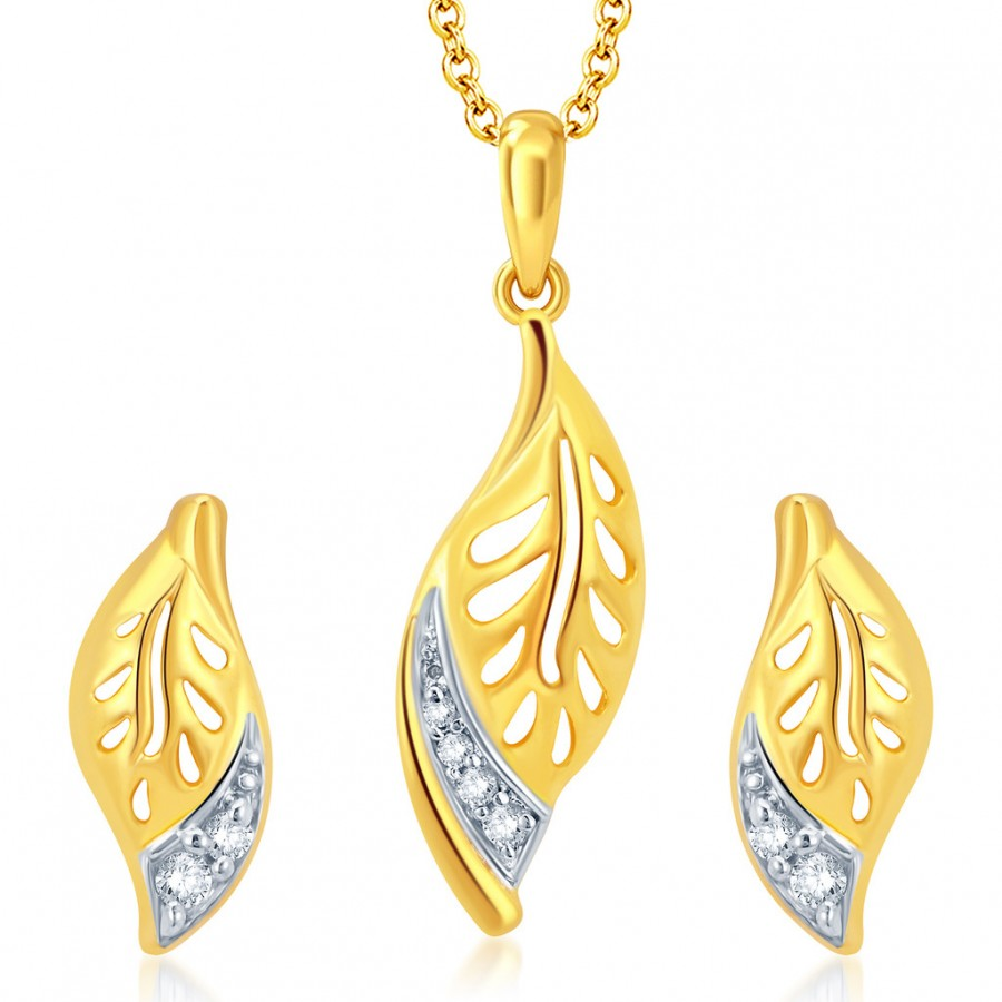 Buy Pissara Leafy Gold and Rhodium Plated CZ Pendant Set Online