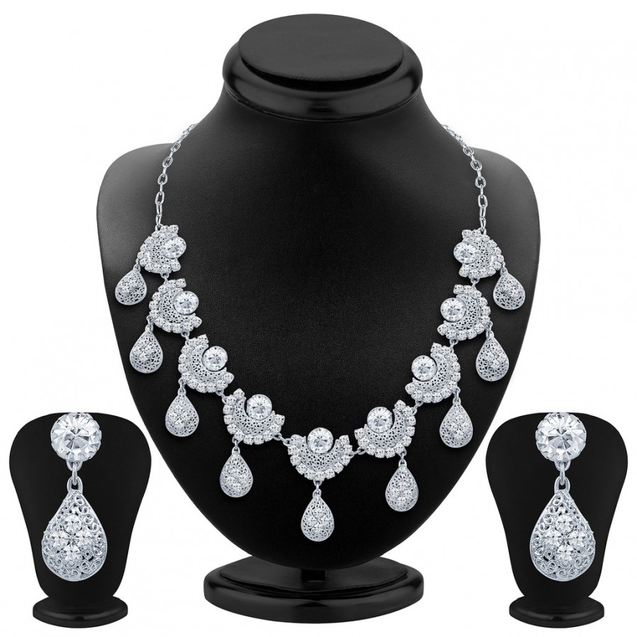 Buy Sukkhi Cluster Rhodium Plated AD Necklace Set Online