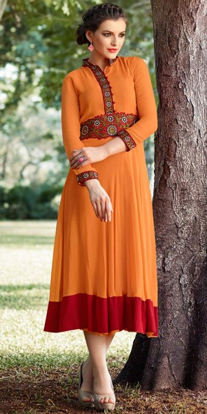 Buy Dazzling Orange Georgette Kurti. Online