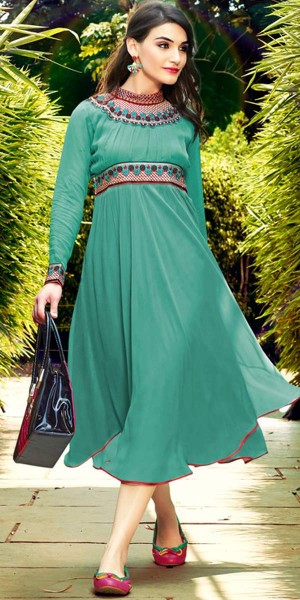 Buy Adorning Green Georgette Kurti. Online