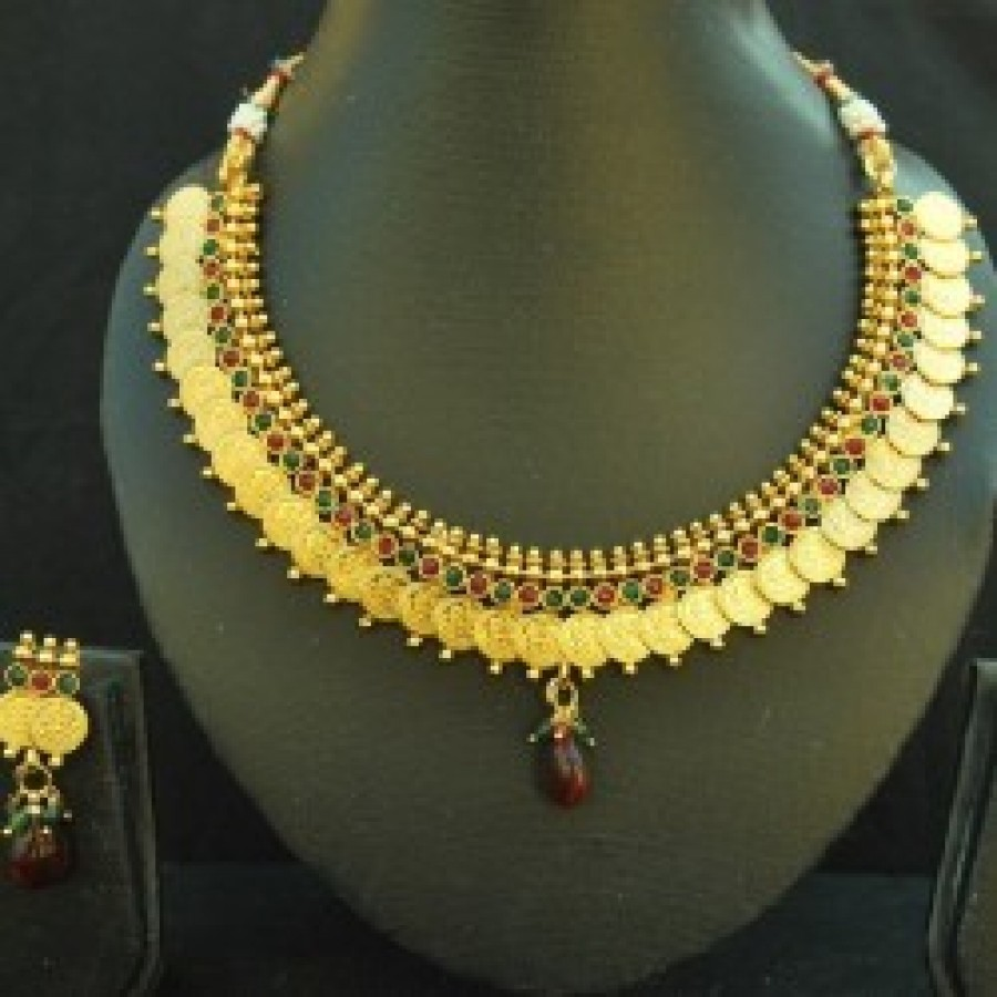 Buy Designer Kasumala Copper Necklace set with Maroon & Green colour Online