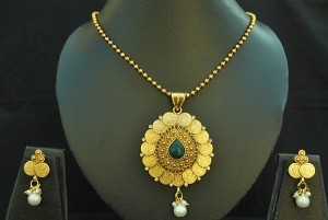 Buy Beautiful Coin Pendant set with Emerald  Online