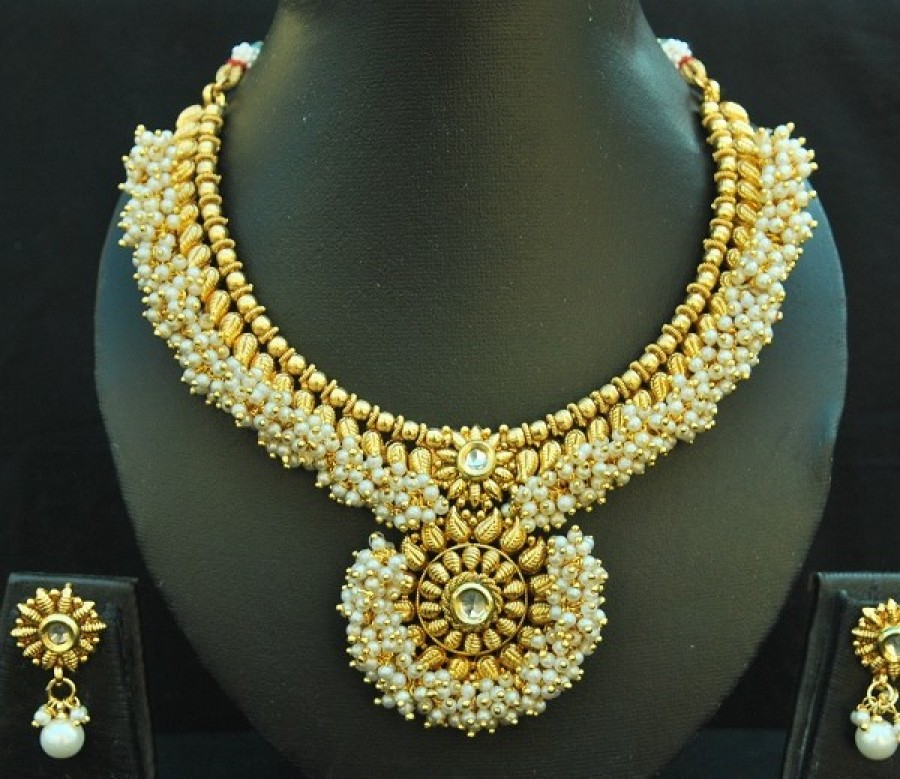 Buy Designer Copper Traditional Necklace set with Ruby & Emerald with Jhumkaa Online