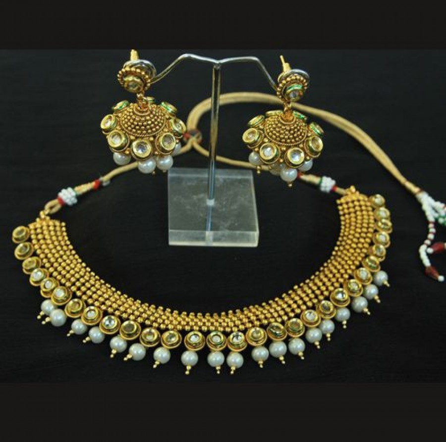 Buy Gold Plated Kundan & Pearl Necklace set with Beautiful Jhumkaas Online
