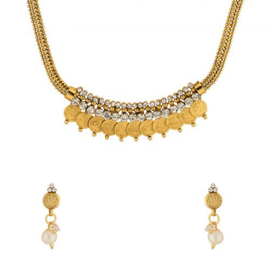 Buy Goddess Lakshmi Necklace Set In Gold Tone Online