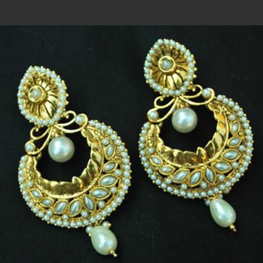 Buy Pearl Crescent earrings with Tear Drop Online