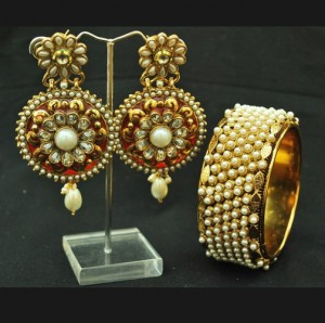 Buy Alluring Red round earrings and Pearl Kada / Bangle Set Online