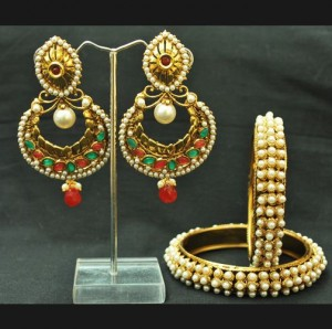 Buy Crescent Multicolour earrings with Pearl Bangles Online