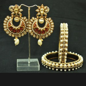 Buy Crescent Red earrings with Pearl Bangle / Kada Set Online