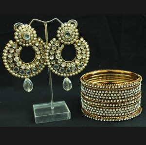 Buy Stone studded earrings and Bangles – White Online