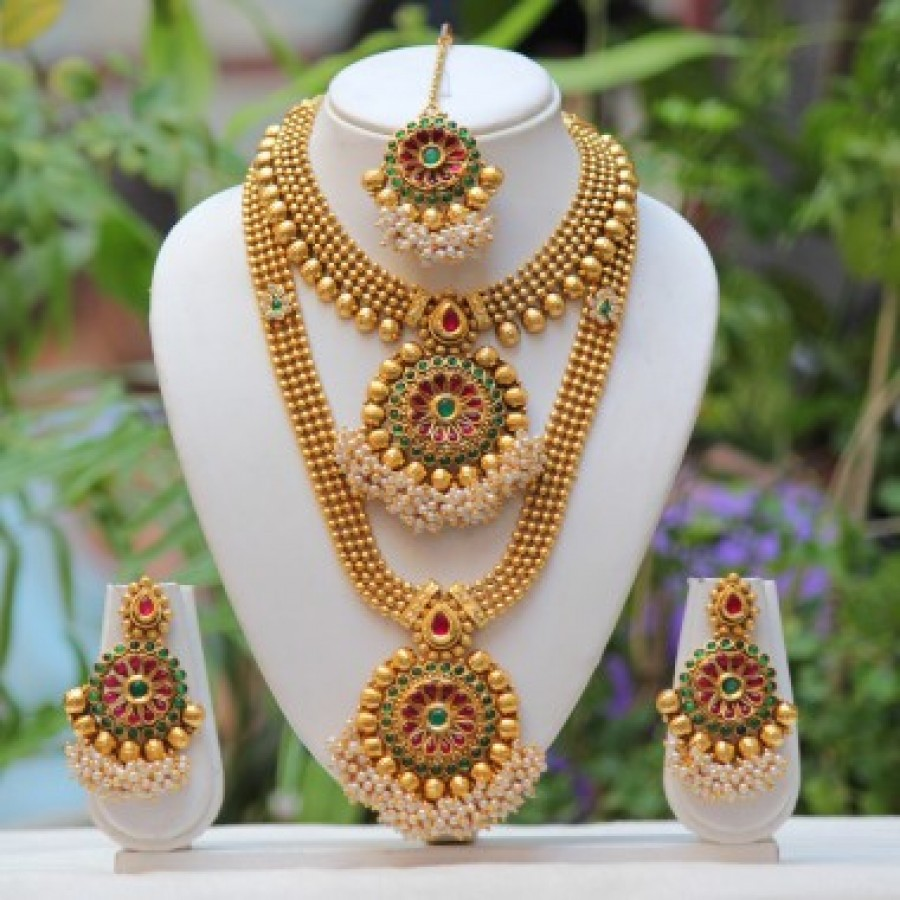 Buy Artificial Traditional flower design green maroon golden semi bridal set Online