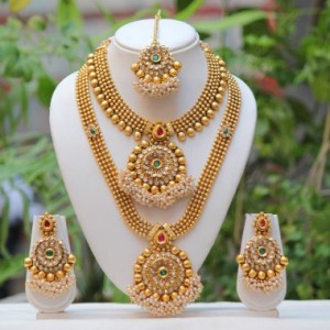 Buy Antique flower design multicolor semi bridal necklace set  Online