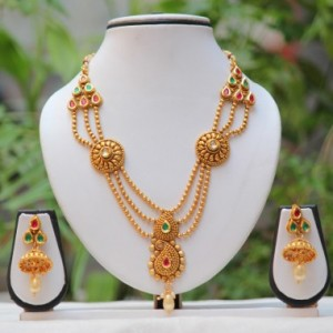Buy Botha side pendant Multicolor kundan mala set Online
