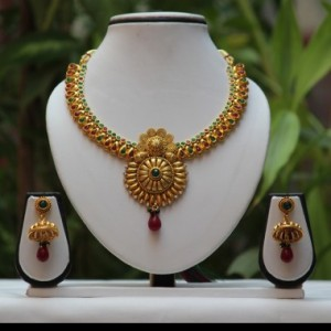 Buy No. 1 antique golden shine Green maroon necklace set  Online