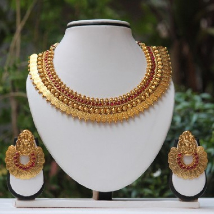 Buy Maroon stone laxmi Temple Coin Gold necklace set Online