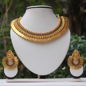 Buy Blue stone laxmi Temple Coin Gold necklace set Online