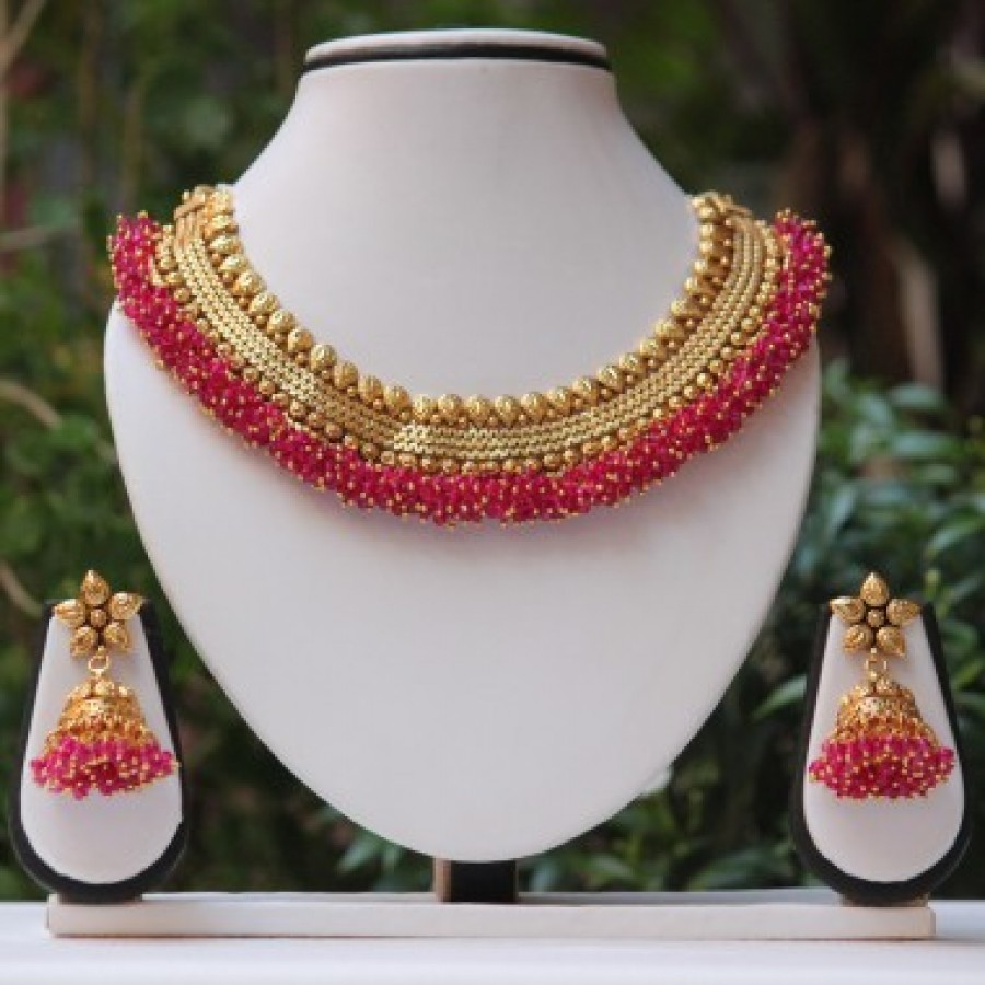 Buy Royal Golden Ruby pink pearl neckace set Online
