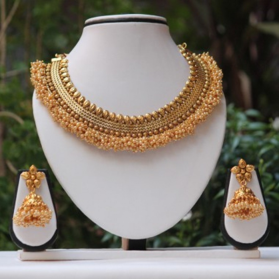 Buy Royal Golden Champn pearl neckace set Online