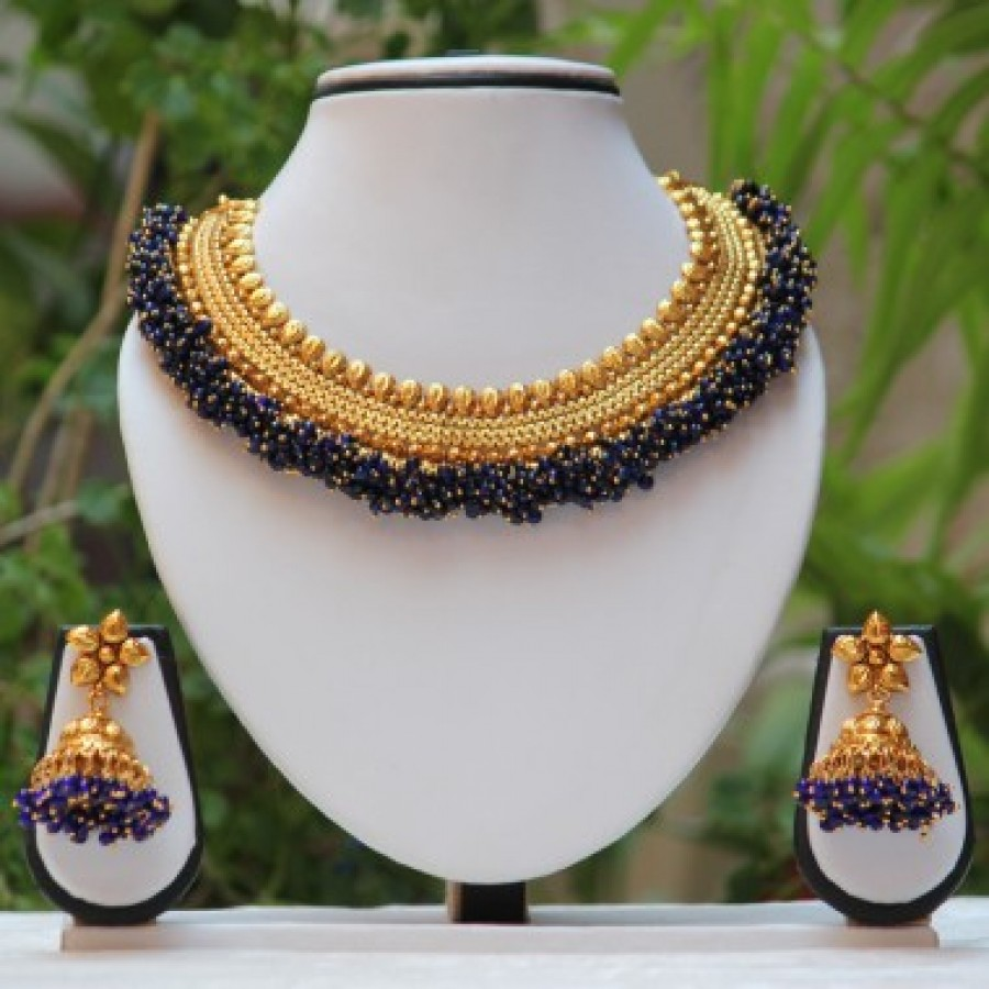 Buy Royal Golden Blue pearl neckace set Online